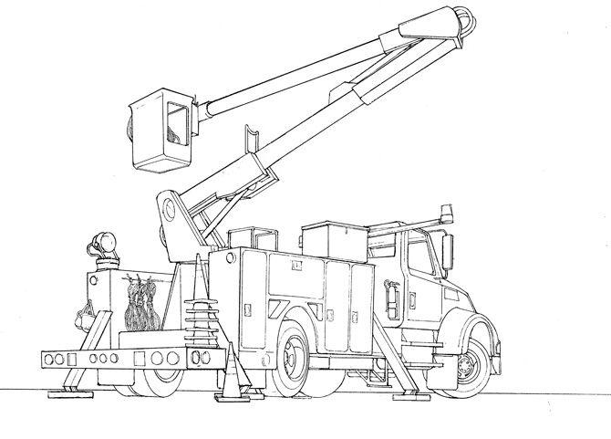 Bucket Truck Drawing Bucket Truck Drawings Bucket