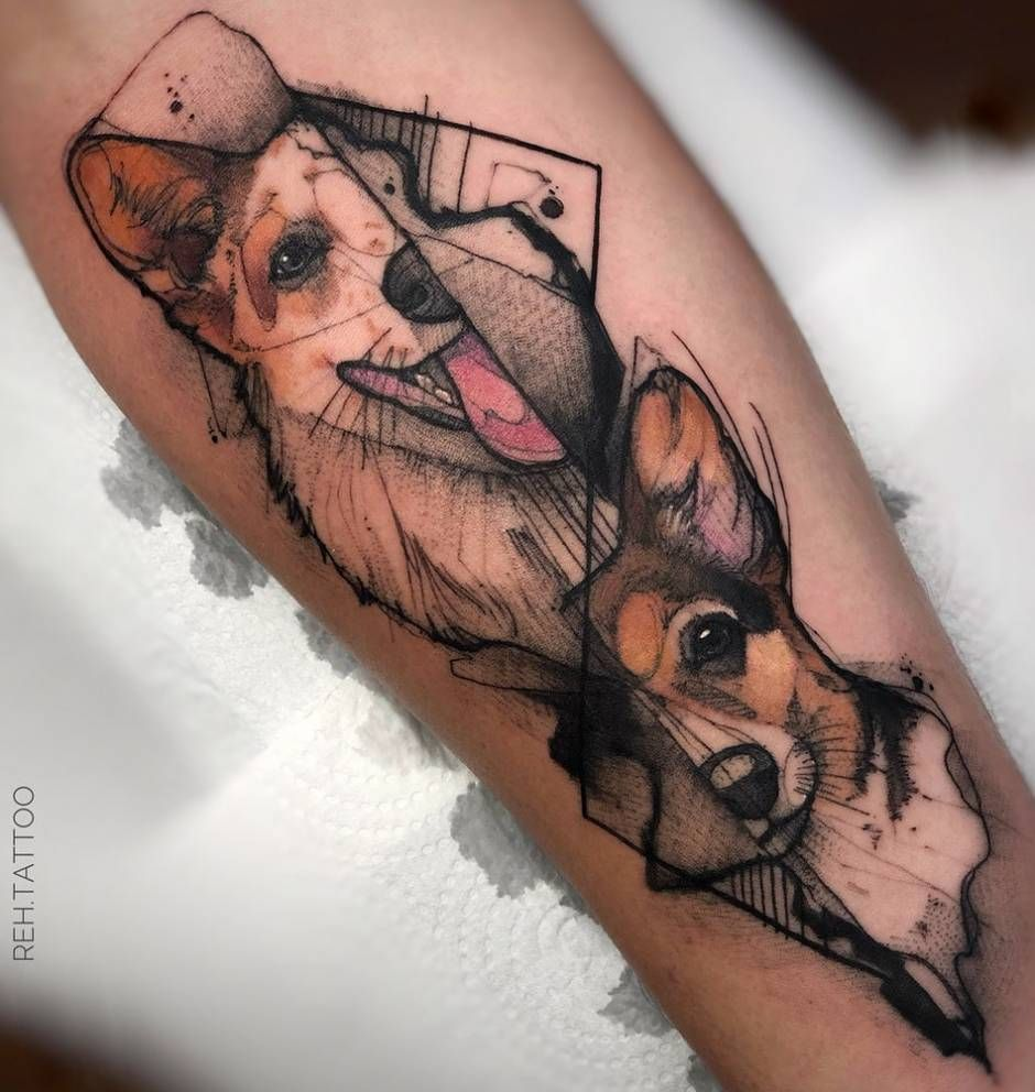 Stylish sketch watercolor tattoos by renata henriques