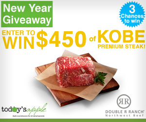 » TodaysApple – Holiday Giveaway! Enter To Win $400 of Kobe Premium Steak! Bargain Hound Daily Deals