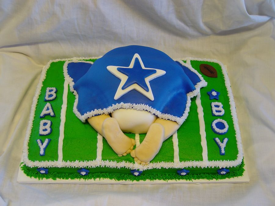 Football Themed Baby Shower Centerpiece Ideas | Dallas Cowboys Baby Shower  Vanilla Cake With Vanilla Butter