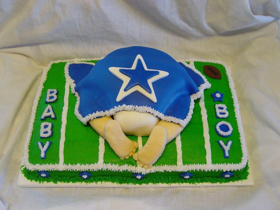 Football Themed Baby Shower Centerpiece Ideas   Dallas Cowboys Baby Shower  Vanilla Cake With Vanilla Butter