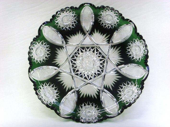salle des ventes abc cristal val st lambert grand plat en cristal taill et doubl vert du. Black Bedroom Furniture Sets. Home Design Ideas