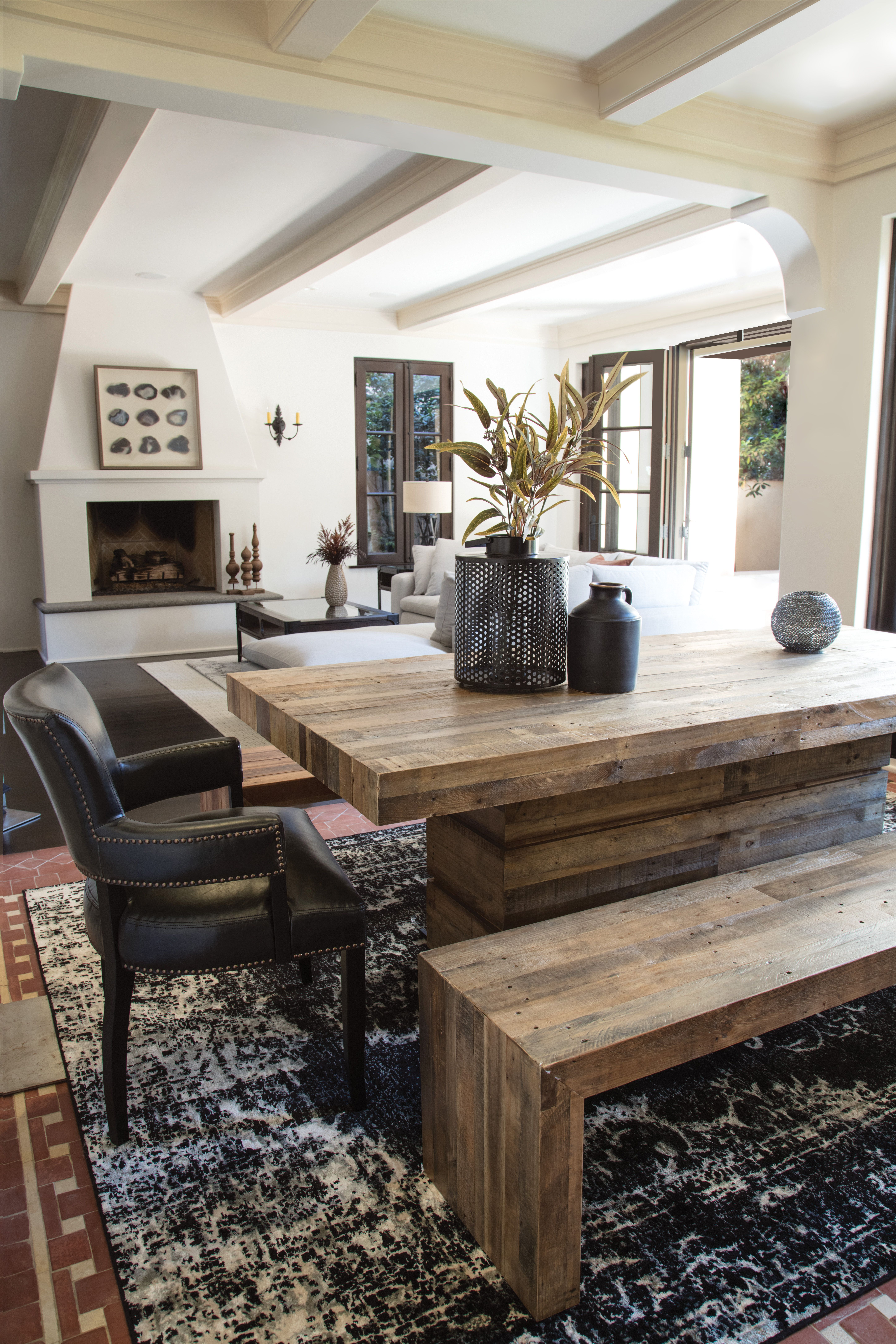 Rustic Reclaimed Wood Dining Room Set With Bench Raw Character