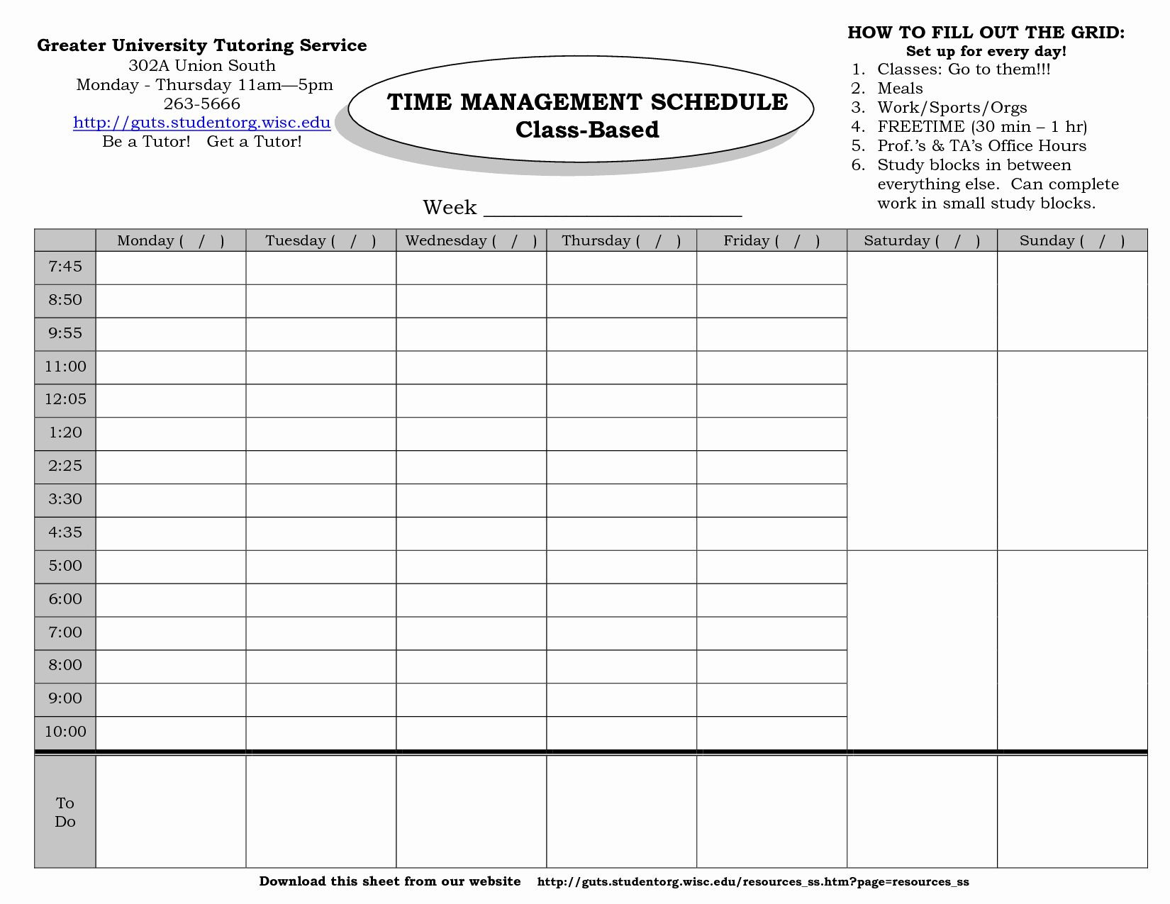 Time Management Template Schedule Template Student Resume Template Time Management