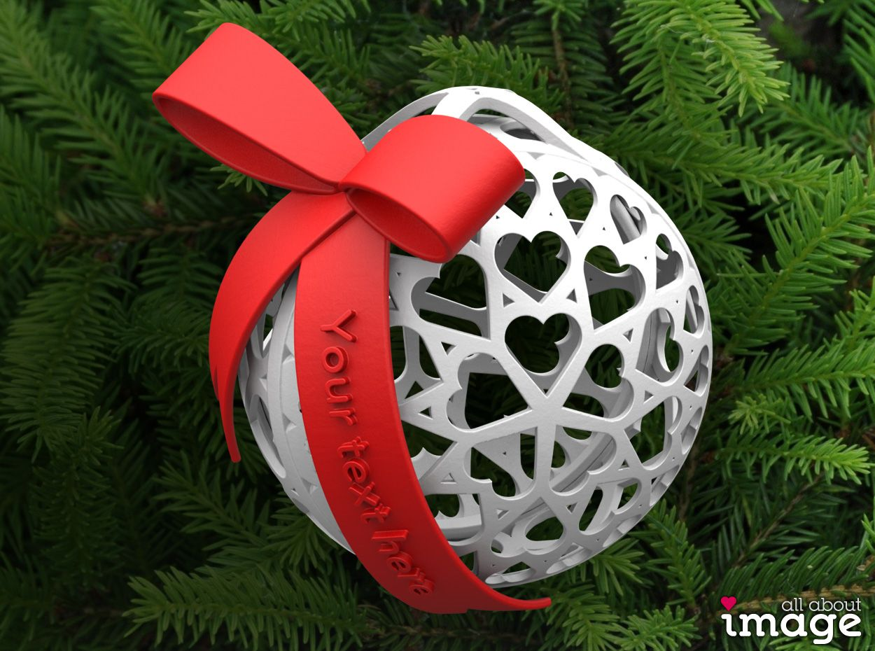 This 3d Printed Christmas Ornament Is Covered In Little Heart Shapes Because The Ball Can Be Opened You Can Use It Christmas Ornaments Small Gifts Ornaments