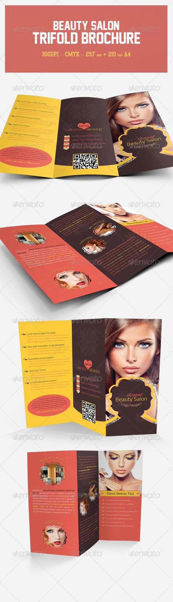 Elegant Beauty Salon Tri-fold Brochure | Pinterest