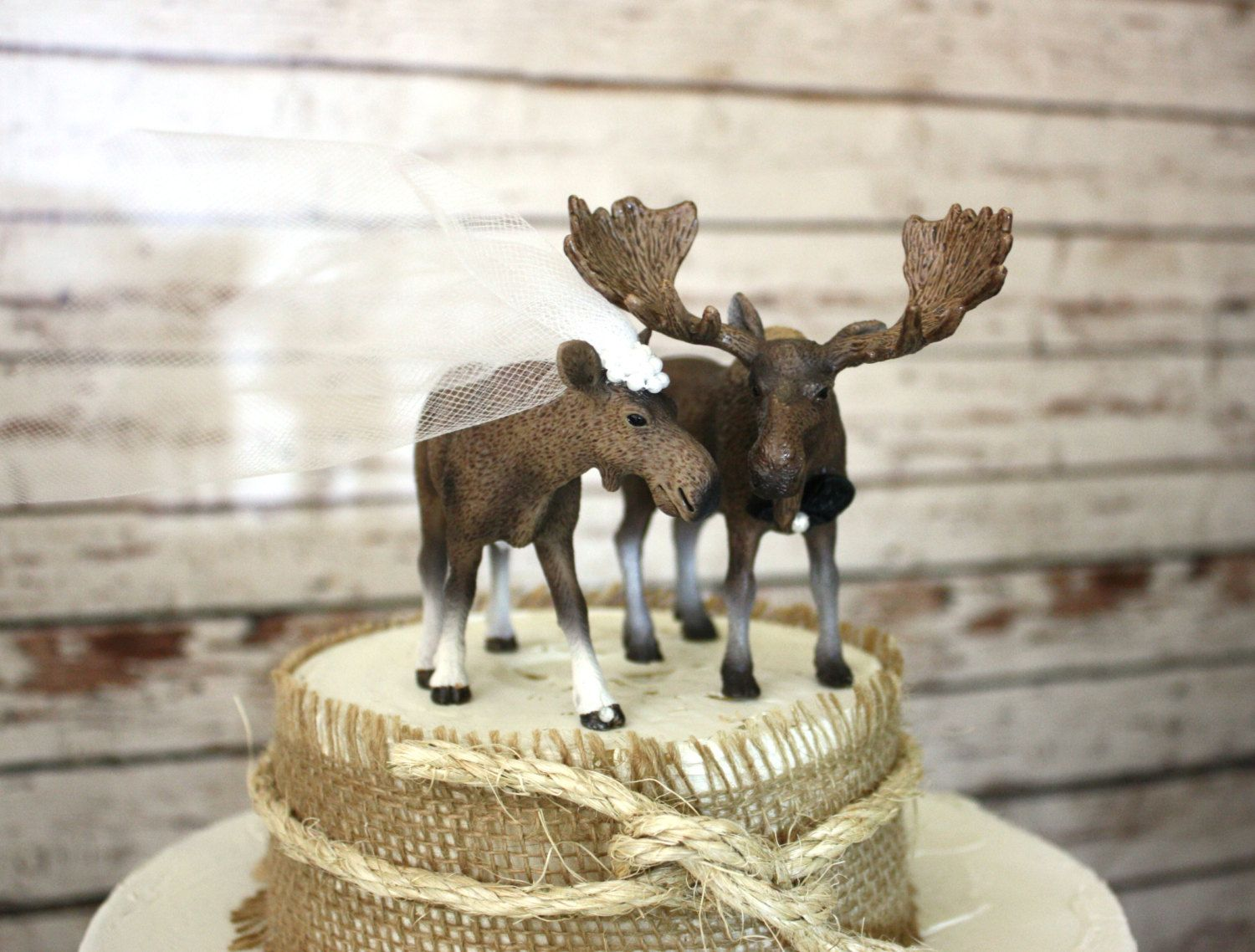Moose wedding cake topper-Alaskan Moose-Moose cake topper-Rustic Cake topper-Hunting cake topper. $55.00, via Etsy.