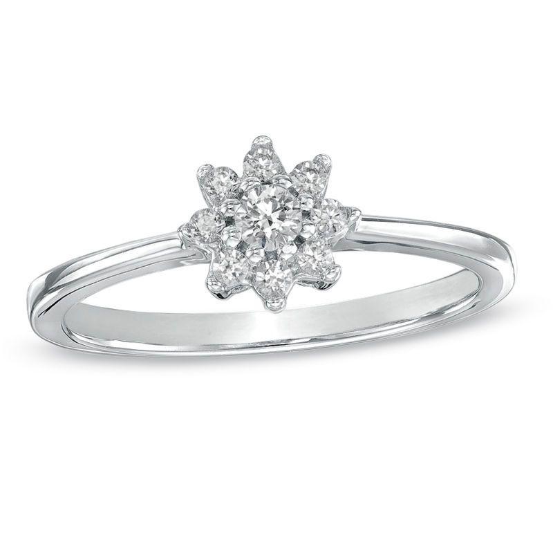 1 5 Ct T W Diamond Sunburst Promise Ring In 10k White Gold Zales White Diamond Ring Promise Rings White Gold