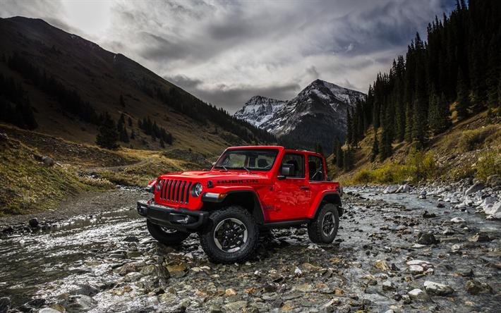 Lataa kuva Jeep Wrangler Rubicon, 2018, punainen MAASTOAUTO, uusia autoja, vuori joen, off-road, USA, vuoret, Jeep