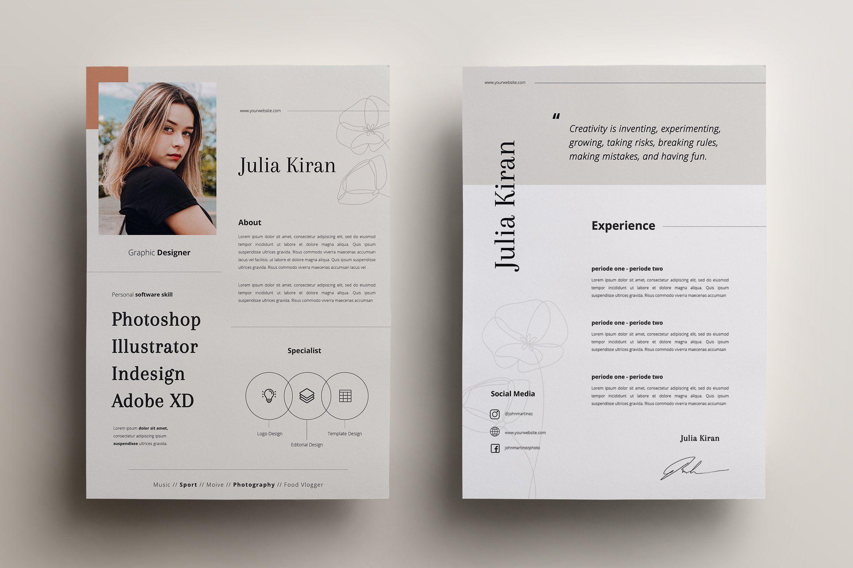 Minimal Cv Resume Graphic Design Resume Resume Design Template Graphic Design Cv