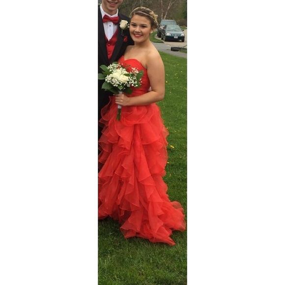 One of a kind red dress This dress was specifically made for me it is absolutely stunning, it has been worn once for only a few hours. Dresses Strapless