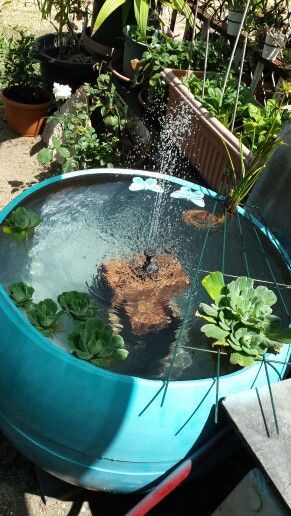 Completely recycled plastic drum fish pond with solar for Plastic garden fish ponds