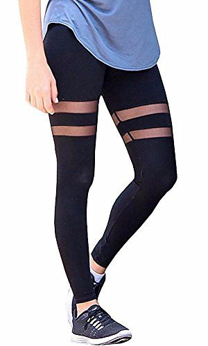 1af1dac46f FITTOO Women High Waist Hollow Out Lace Patchwork Slim Yoga Pants Fitness  Gym Workout Leggings
