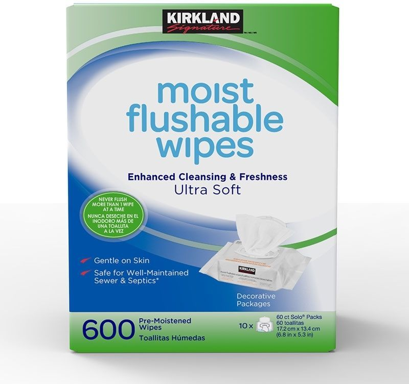 Kirkland Signature Moist Flushable Wipes 600 Pack Ultra Soft And