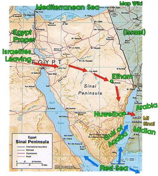 The Exodus Across The Sinai Peninsula From Egypt To Succoth To - Map of egypt red sea area