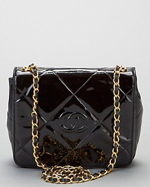 e06ba299c241 Chanel Vintage Black Quilted Patent Leather Flap Bag | Chanel ...