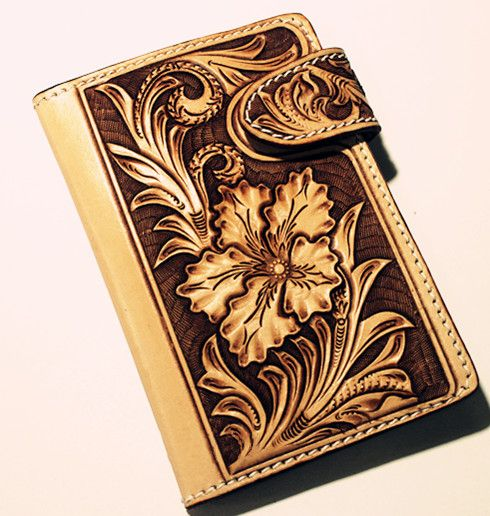 Floral leather tooling patterns passport holder with carved flowers tribal chic