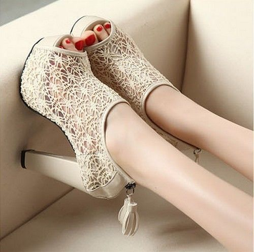 Sexy Lace Hollow Out Womens Shoes Tassel Zip High Heels Peep Toe Pump Sandal