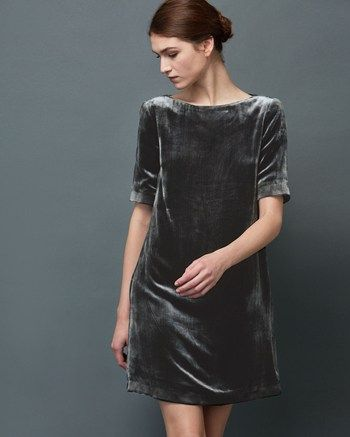 Women S Silk Velvet Shift Dress