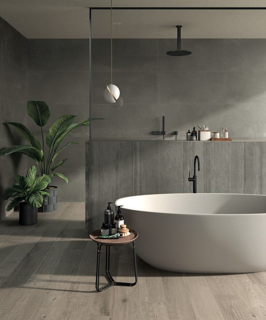 "Photo of 𝐀𝐇𝐈 𝐋𝐮𝐬𝐭𝐟𝐨𝐫𝐈𝐧𝐭𝐞𝐫𝐢𝐨𝐫 on Instagram: ""Warm oasis bathroom   grey wood & concrete"""