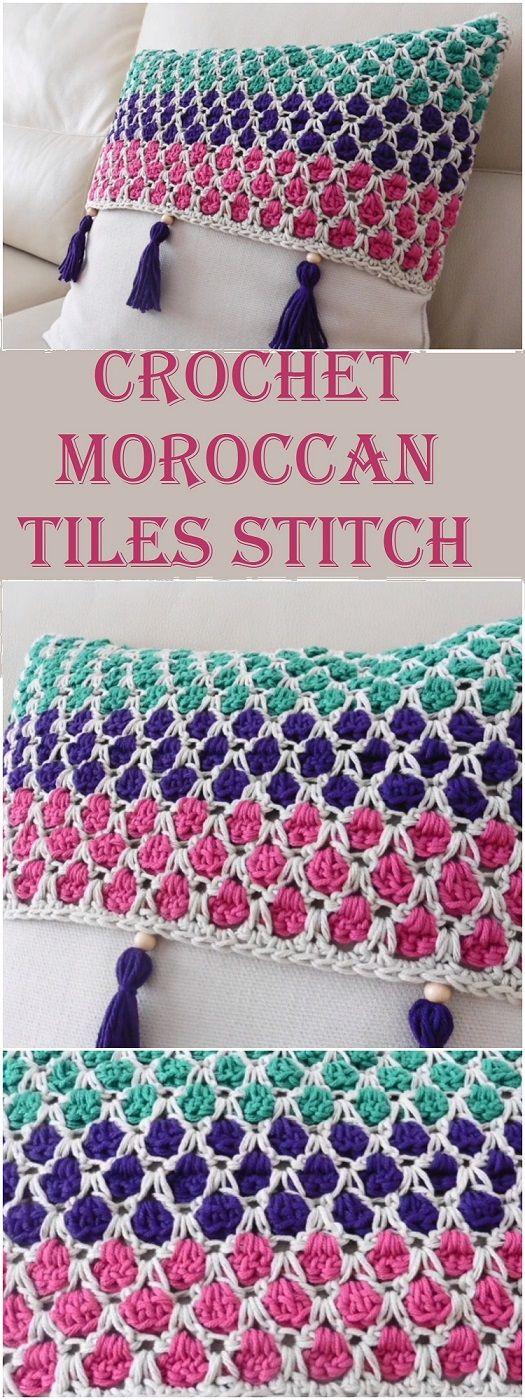 Crochet Moroccan Tiles Stitch   Crochet   Pinterest   Ganchillo ...