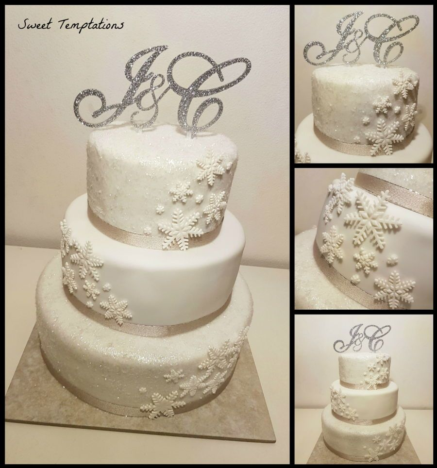 Winter Wedding Cake 3 tier winter wedding cake with glitter flakes ...