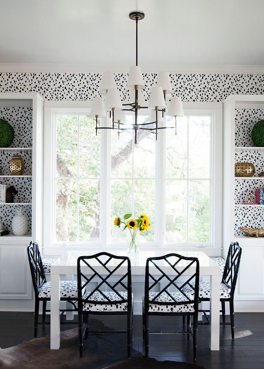 Best Dramatic Dining Room With Dalmatian Polka Dot Wallpaper In Black And White Via Coco Kelley 400 x 300