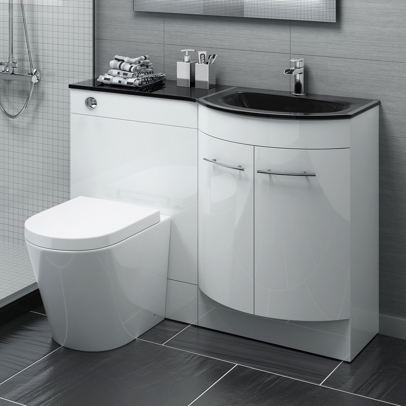 1200mm Alexis Gloss White Combined Vanity Unit Black Glass Basin Lyon Pan Bathroom Vanity Units Vanity Units Trendy Bathroom