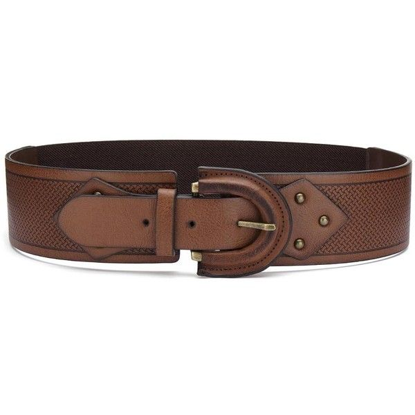 Yoins Retro Solid Color Elastic Waist Belt Brown featuring