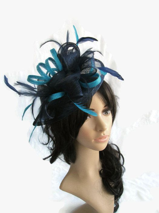Stunning Navy Blue   Turquoise Fascinator ..Sinamay and Feather Teardrop  style with swirls  7fede1524b7