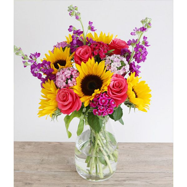 Vibrant Summer This Vibrant Arrangement Of Sunflowers Sweet William Scented Purple Stocks And Ceriserose With Images Summer Flower Arrangements Sunflower Arrangements