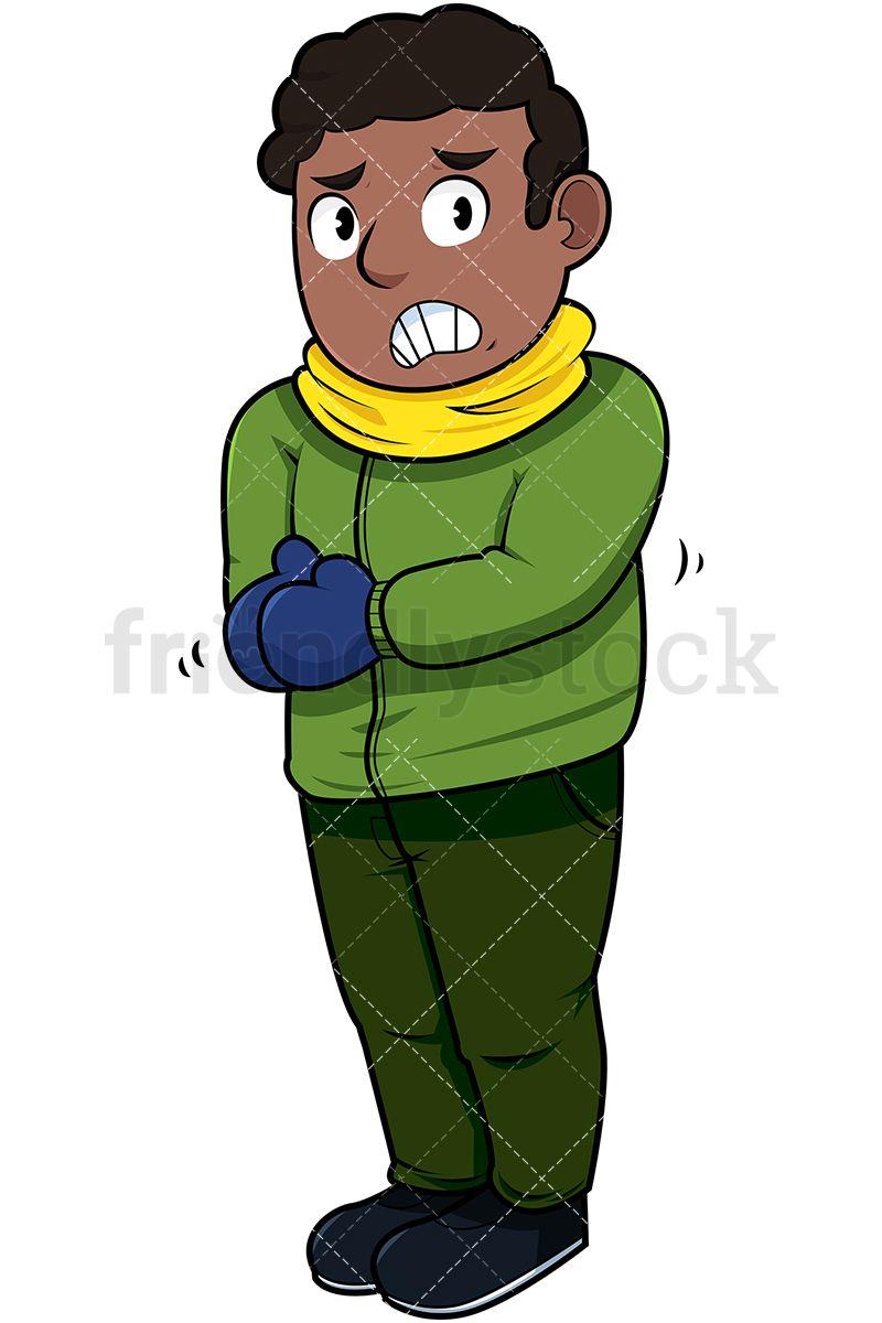 Black Man Trembling With Cold Cartoon Vector Clipart Friendlystock Cartoons Vector Vector Illustration Clip Art