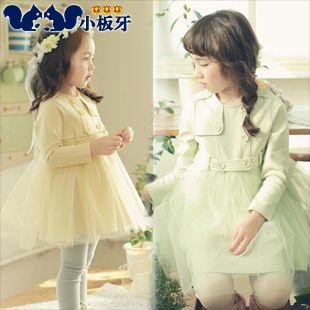 2013 autumn korean children sasa stitching long-sleeved dress child children baby girls 6509 only $11.09USD a Piece