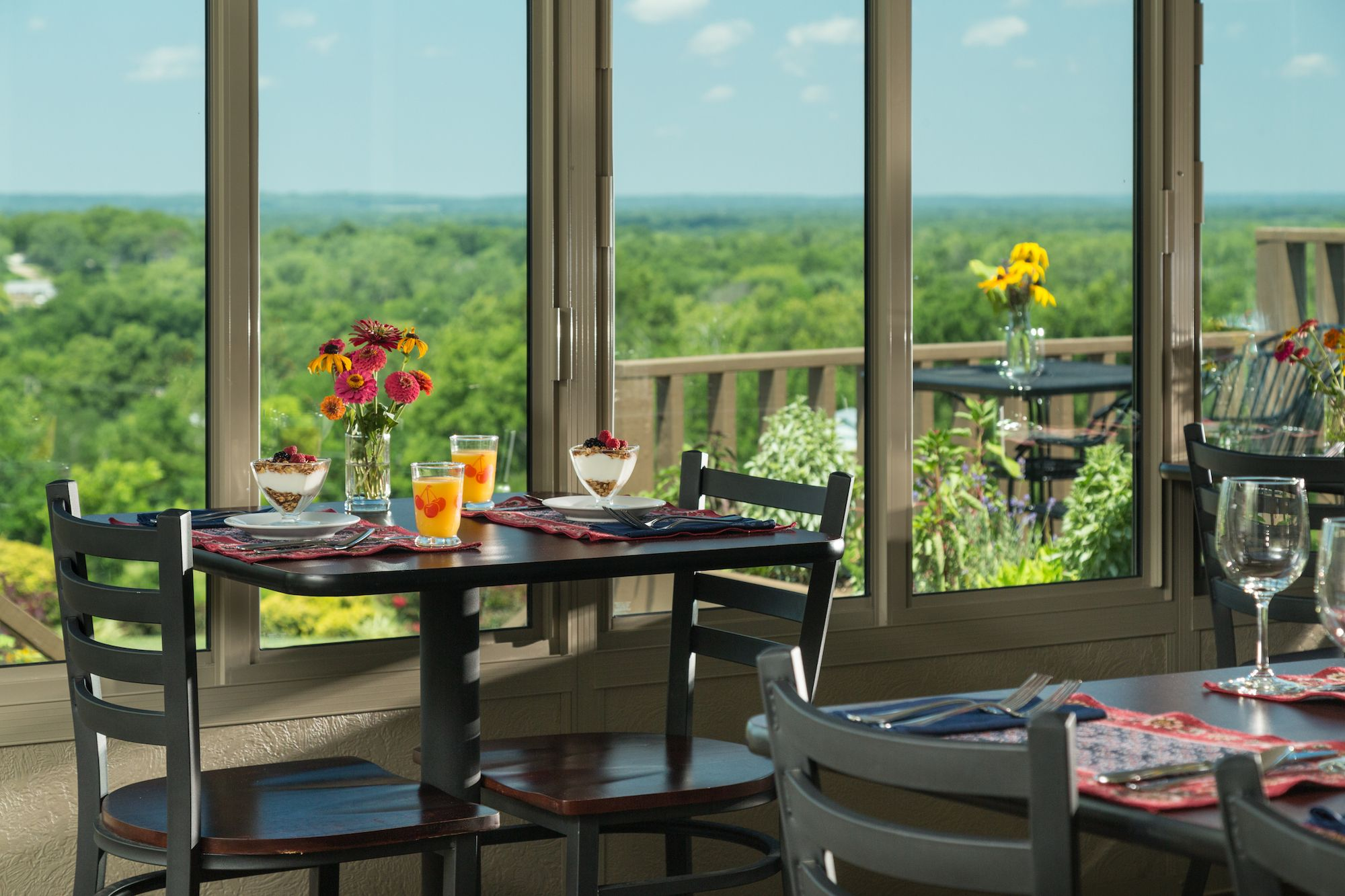 Dining with a view at our romantic Kansas bed and