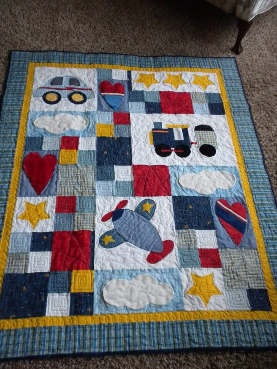 Car Plane And Train Crib Quilt With Minky Appliques
