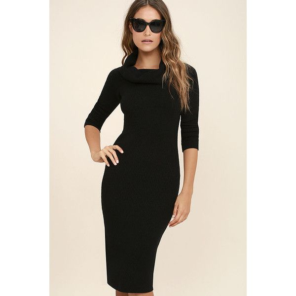 Hometown Bound Black Long Sleeve Sweater Dress 54 Liked On