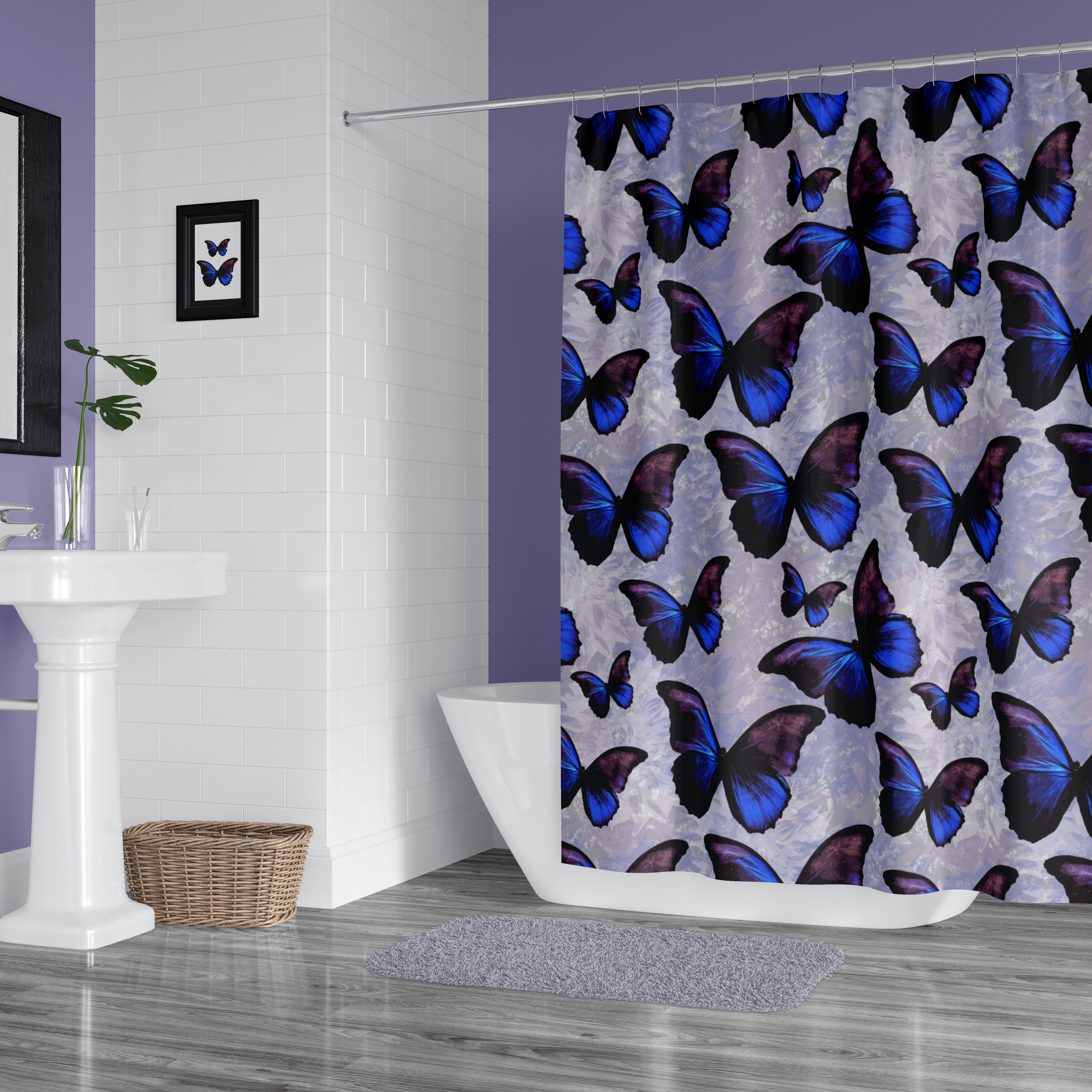 Purple And Blue Morpho Butterfly Shower Curtain Butterfly Shower