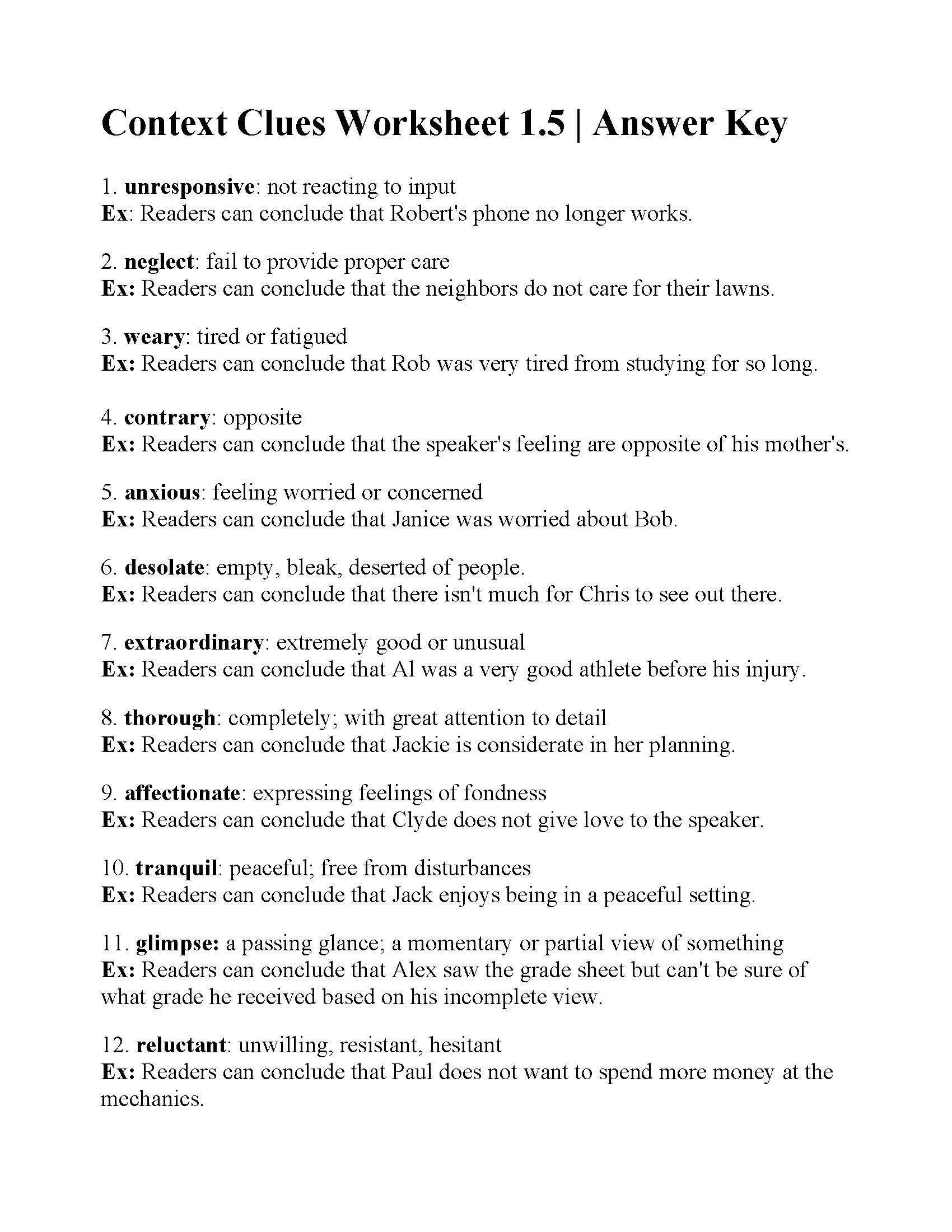 Context Clues Worksheets 3rd Grade Context Clues Worksheet 1 5   온라인 카지노 [ 2200 x 1700 Pixel ]