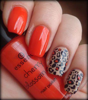Katiee's Beauty World: Orange & Nude Leopard Manicure