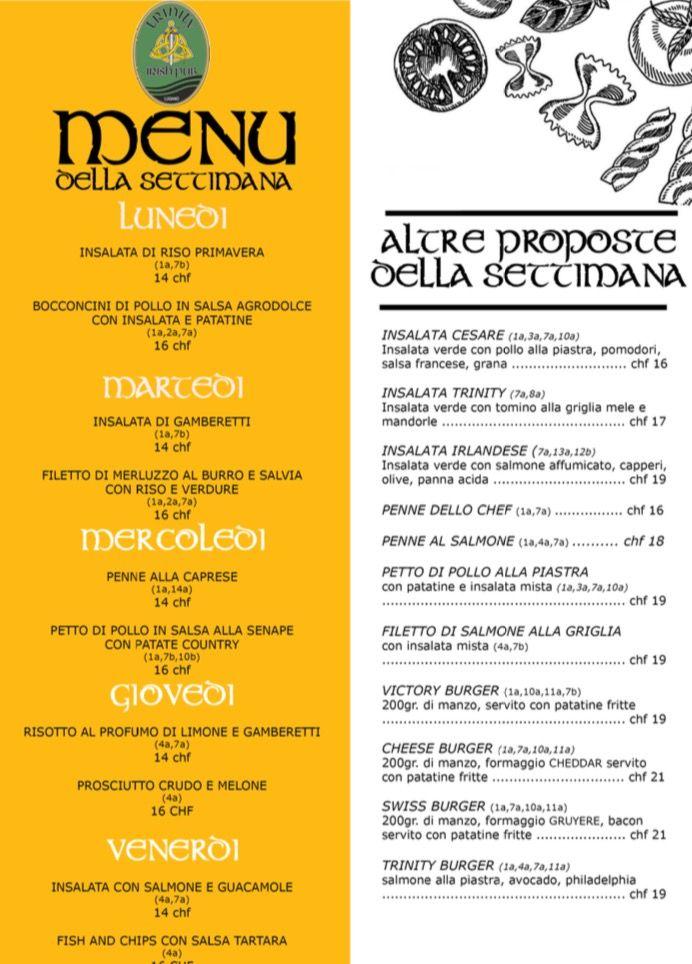 Pronto il menù del Trinity Boat di Locarno e del Trinity Irish Pub di Lugano...buon app by JaDa Solutions 😉