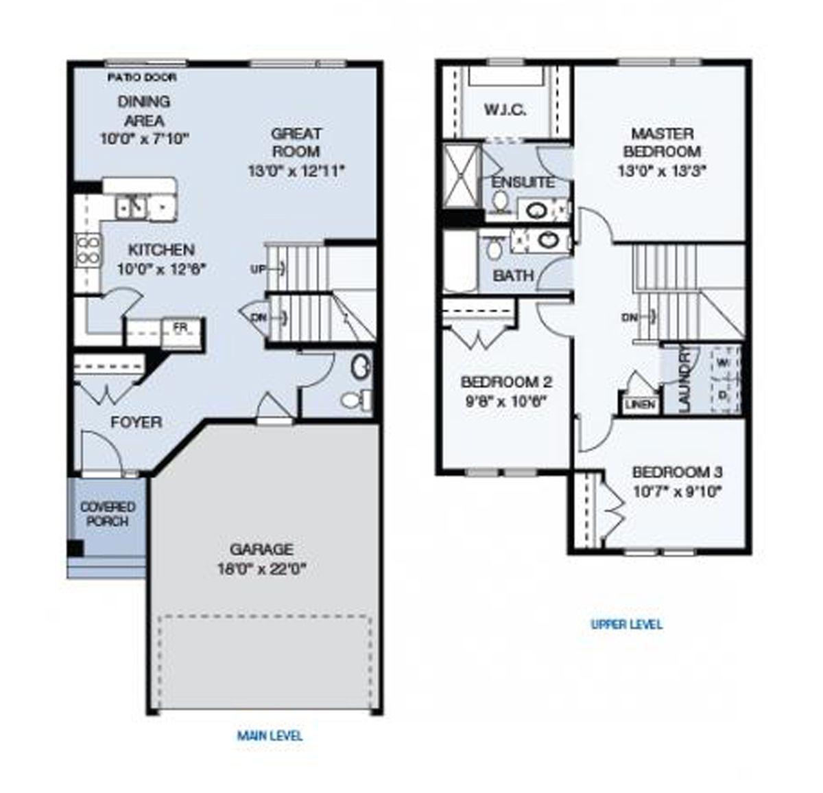 The Parkview Floor Plan.  1534 sq. ft. Main Floor: 694 sq. ft. Upper Floor: 840 sq. ft.