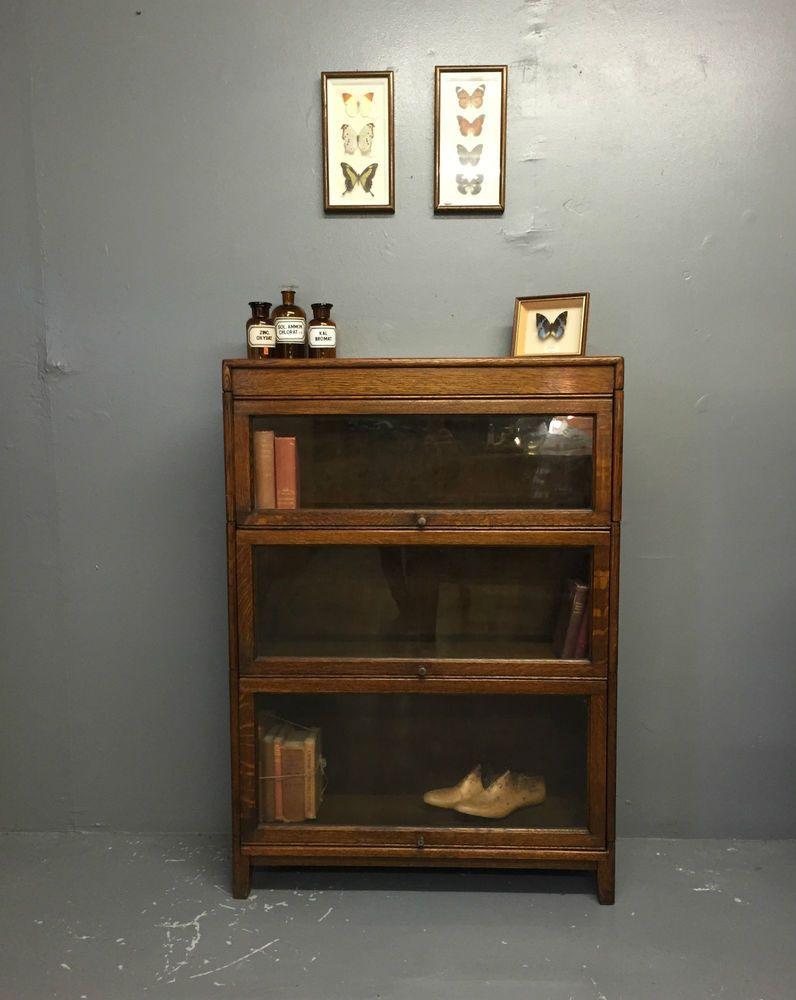 Vintage Antique Globe Wernicke Style Oak Lawyers Barristers Bookcase Cabinet - Vintage Antique Globe Wernicke Style Oak Lawyers Barristers Bookcase