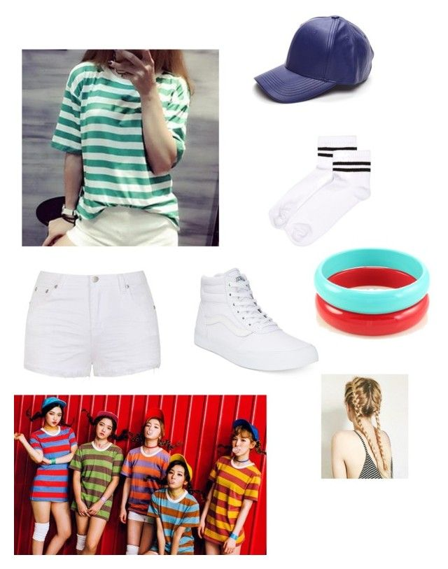 """""""KPOP: red velvet dumb dumb dumb outfit ❤️❤️❤️"""" by montrosecheer on Polyvore featuring Adima, Ally Fashion, River Island and Vans"""