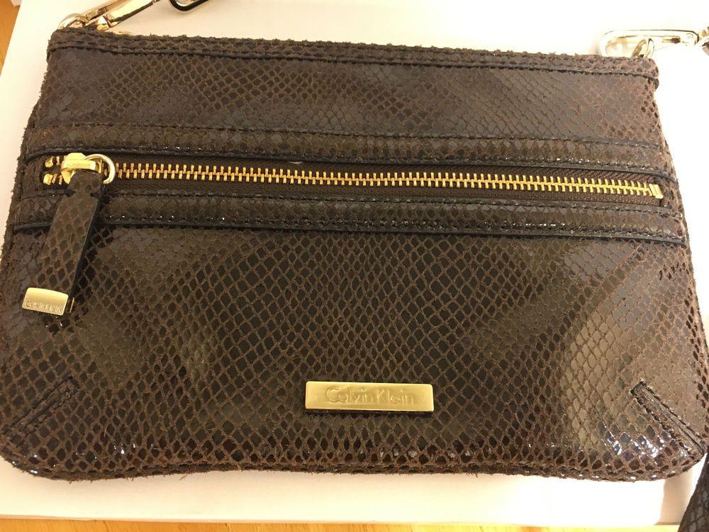 fd0594099a Calvin Klein Brown Snake Python Embossed Leather BAG Purse Goldtone  Hardware #CalvinKlein #EveningBag