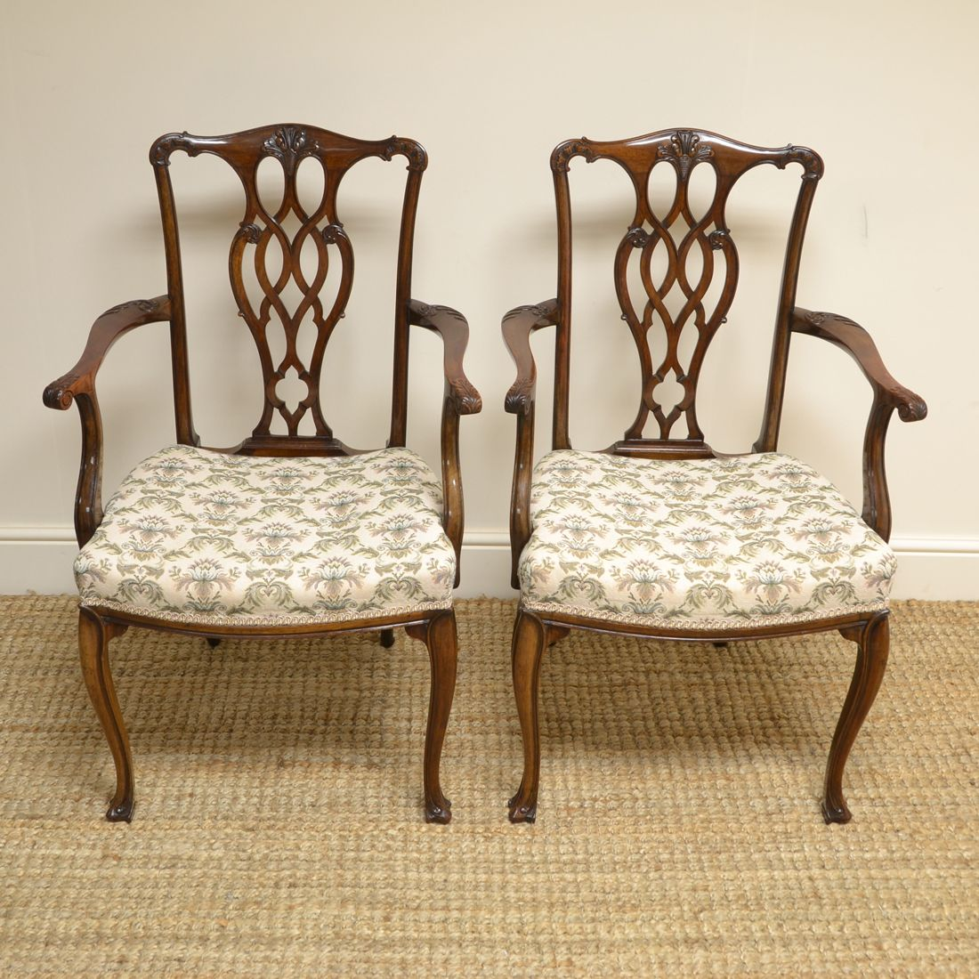 Sensational Pair of Walnut Edwardian Chippendale Design