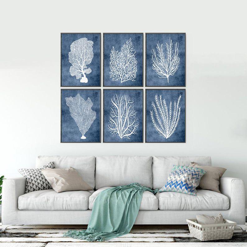 Navy Blue Wall Art Bathroom Sea Coral Prints Beach House Etsy In 2020 Beach House Wall Decor Navy Blue Wall Art Blue Wall Art