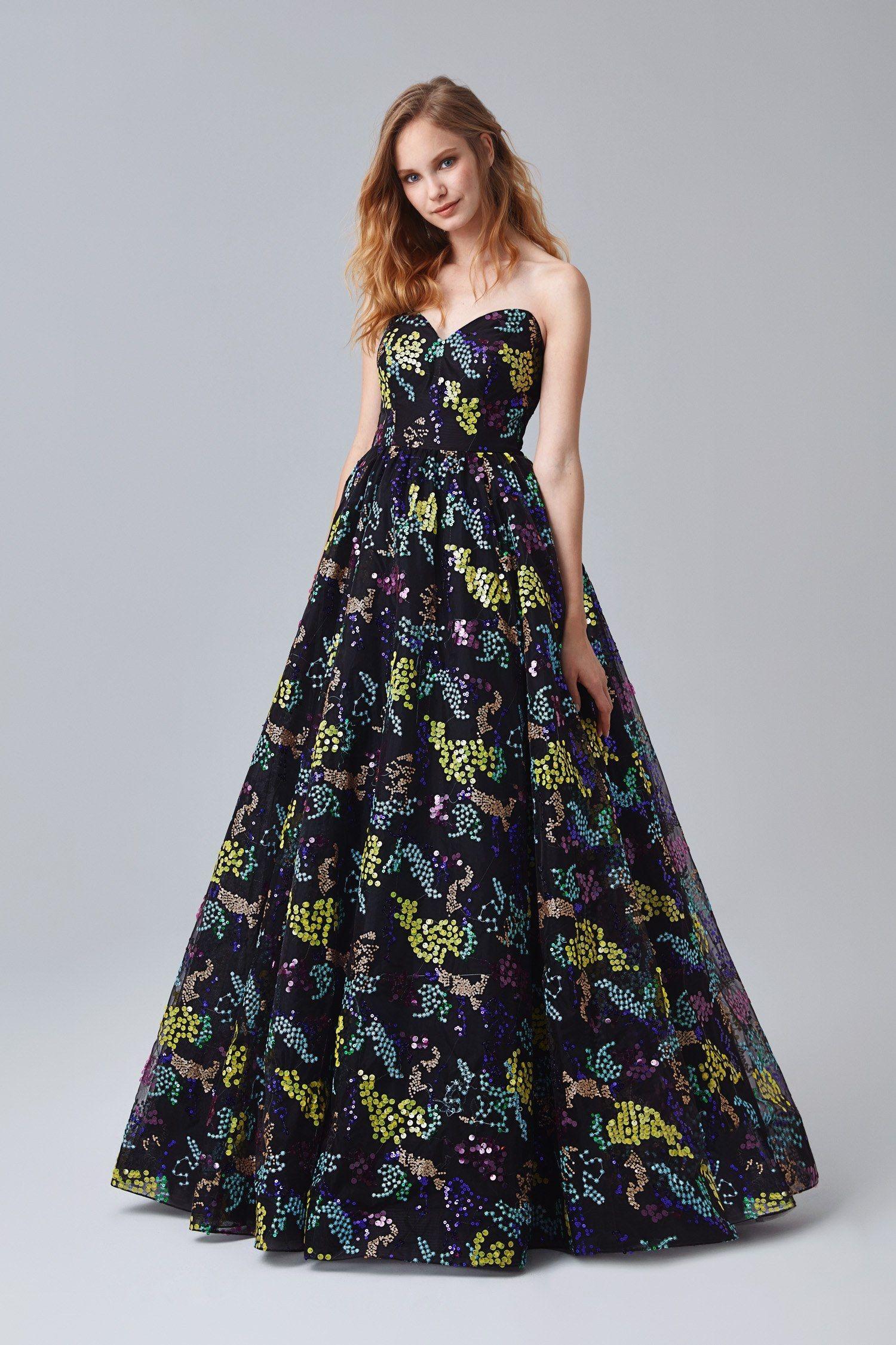 04500718df700 Renkli Straplez Uzun Abiye Elbise in 2019 | Gece Kıyafetleri / Abiye ...