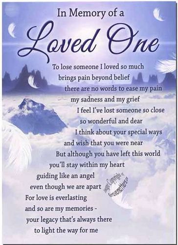 Loved one in loving memory of cindy s rd death