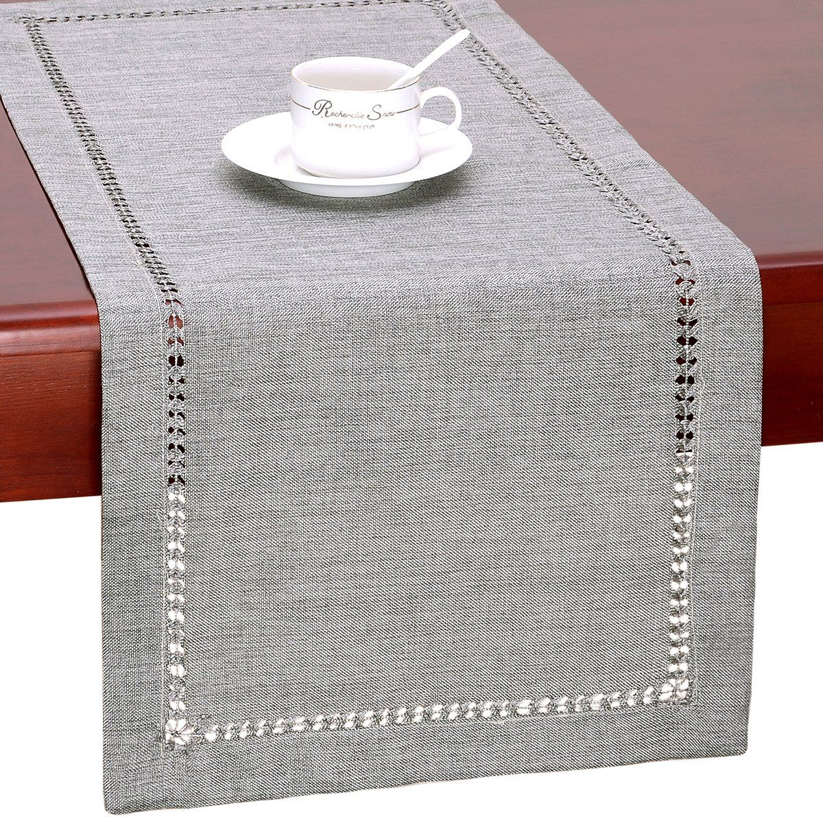 Grelucgo Handmade Hemstitch Gray Dining Table Runner Or Dresser Scarf Rectangular 14 By 36 Inch Lavorist Grey Dining Tables Dining Table Runners Dining Table Placemats