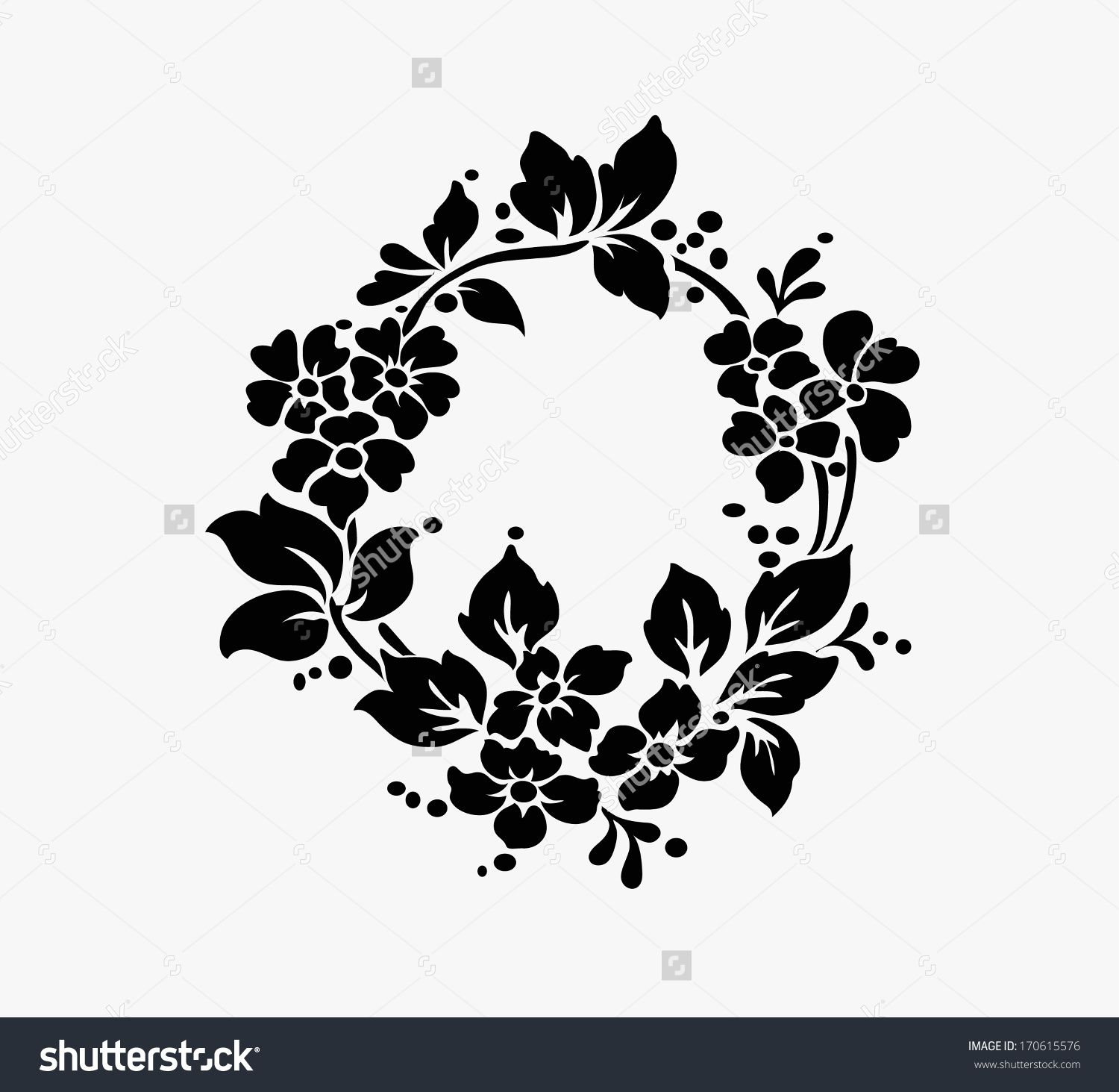 Rose motif flower design elements vector 170615576 shutterstock hand craft pinterest - Design art black and white ...